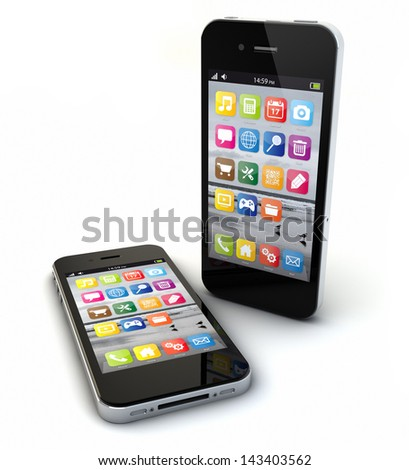 render of two smart phones - stock photo