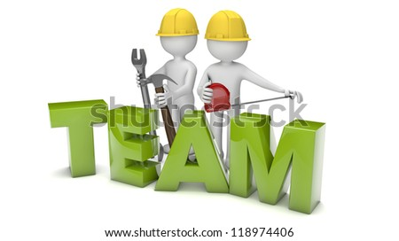 render of two workers and the text team