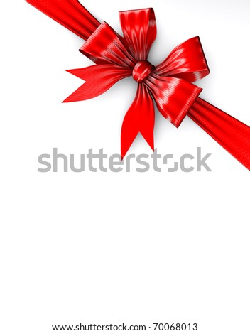 Render represents a red bow on gift packing isolated