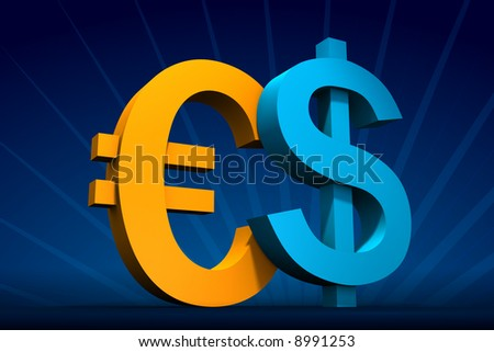 Rendered blue Dollar and yellow Euro symbols on dark-blue with rays on back - stock photo