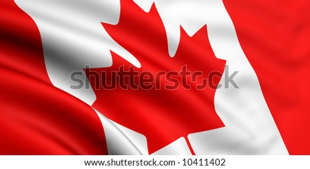 Rendered canadian flag - stock photo