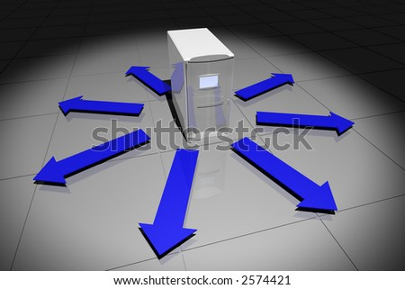 rendered computer-like object with arrows pointing away - stock photo