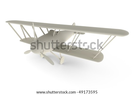 Rendered 3D white toy plane