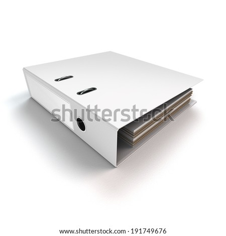 rendered file or ring binder lying on white background