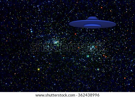rendered Illustration of a alien flying saucer over a background of the double star cluster in perseus that I imaged