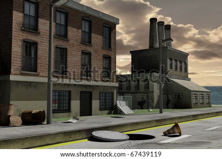 rendered image of an damaged and deserted industrial area - stock photo