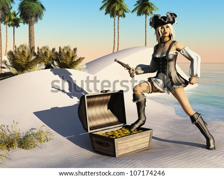 Rendered image of blonde girl in fantasy pirate clothing with open treasure chest standing on desert island beach - stock photo