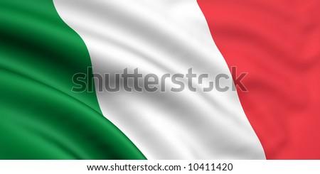 Rendered italian flag - stock photo