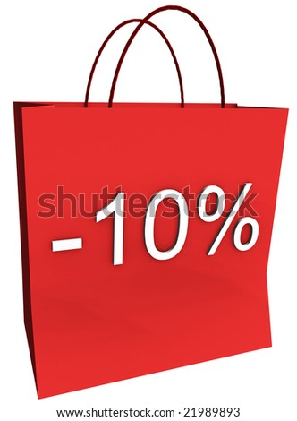 Rendered shopping bag indicating 10 percent off isolated on a white background. - stock photo