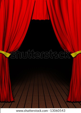 Rendering 3D red velvet theater curtains and Wood floor - stock photo