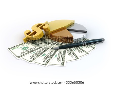 Rendering 3 Dimensions image on a white background, The idea about of Financial and Business.