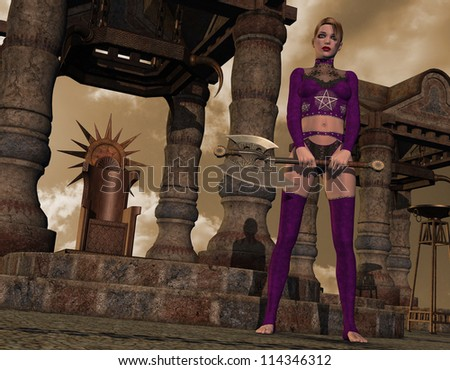 Rendering Gothic Girl with battle ax - stock photo