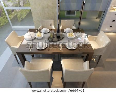 rendering living room - stock photo