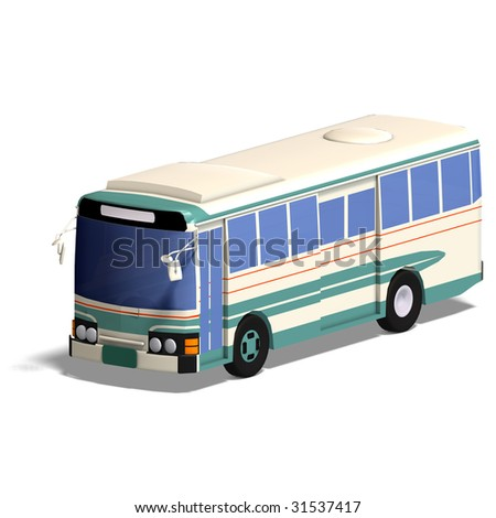 rendering of a bus with Clipping Path and shadow over white