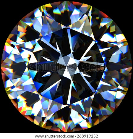 Rendering of a diamond with chromatic dispersion effect. - stock photo