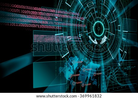 rendering of a futuristic cyber background target with laser light effect - stock photo