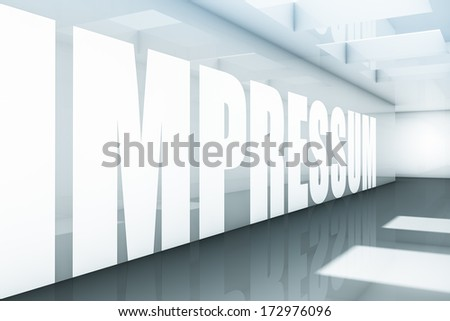 Rendering of a impressum text in a corridor - stock photo