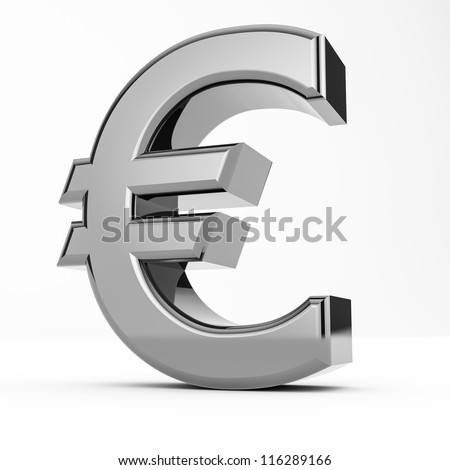 Rendering of a metal euro isolated on white background - stock photo