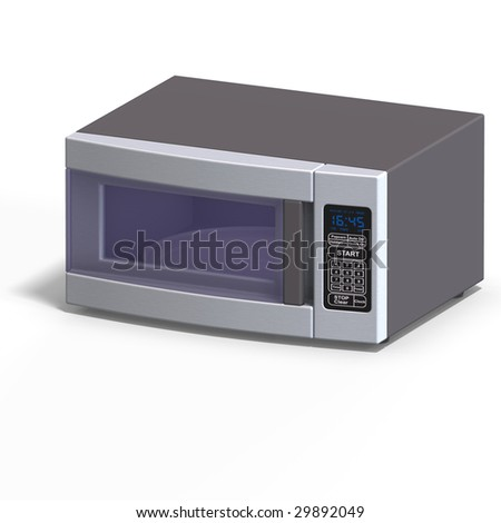 rendering of a microwave With Clipping Path over white