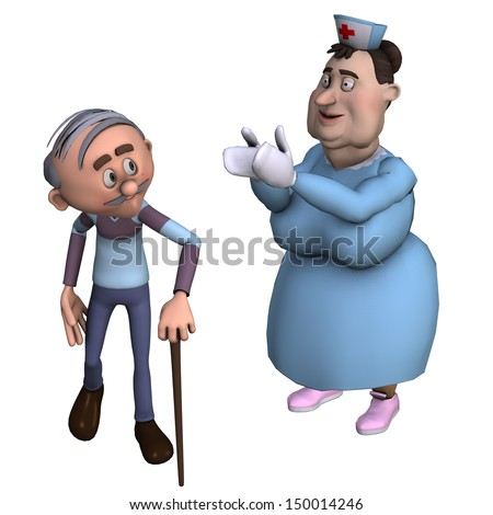 rendering of a nurse with senior as an illustration in the comic style - stock photo