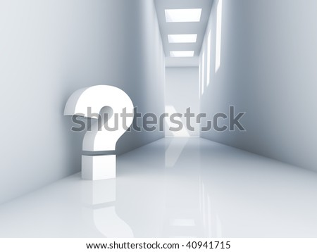 Rendering of a Question Mark in a corridor - stock photo
