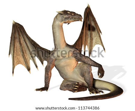 rendering of a seated dragon - stock photo