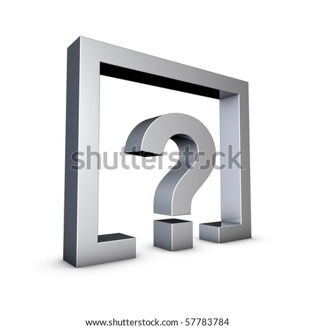 Rendering of a silver Question Mark on a white background - stock photo