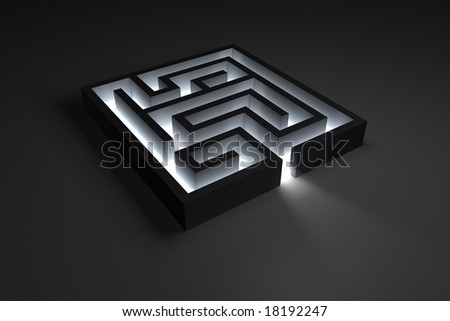 Rendering of a small maze with shiny entrance - stock photo