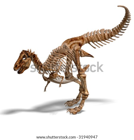 rendering of a t-rex skeleton with Clipping Path and shaow over white