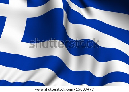Rendering of a waving flag of Greece with accurate colors and design and a fabric texture. - stock photo