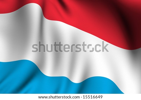 Rendering of a waving flag of Luxembourg with accurate colors and design and a fabric texture.
