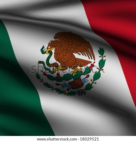 Rendering of a waving flag of Mexico with accurate colors and design and a fabric texture in a square format.