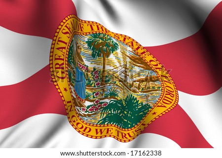 Rendering of a waving flag of the US state of Florida with accurate colors and design and a fabric texture.