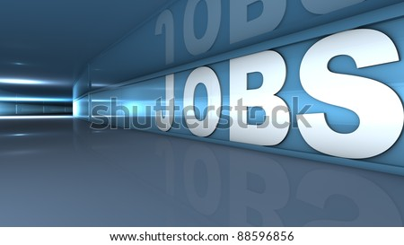 Rendering of a white jobs text in a tunnel
