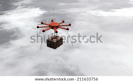 rendering of an octocopter delivering a package - stock photo