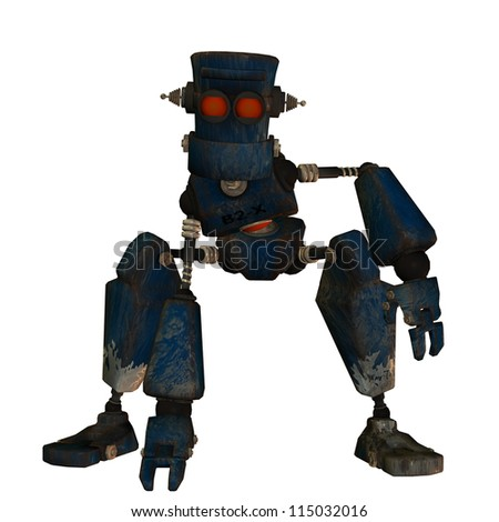 rendering of an old robot in Steampunk Style - stock photo
