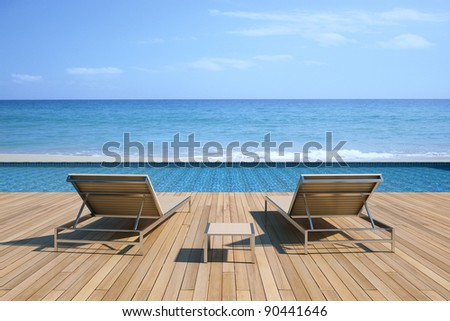 Rendering of beach and swimming pool. - stock photo
