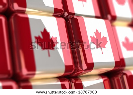 Rendering of canadian flags as cubes - stock photo