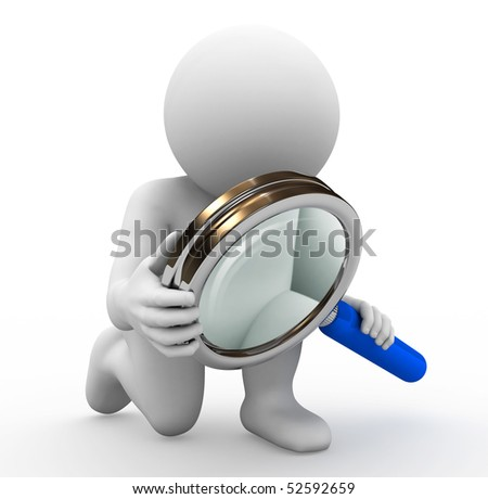 rendering of character with magnifying glass - stock photo