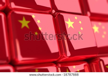 Rendering of chinese flags as cubes - stock photo