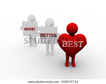 Rendering of 3d Man Holding Puzzle Good Better Best Word - stock photo