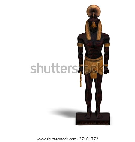 rendering of eygptian god horus statue with Clipping Path and shadow over white