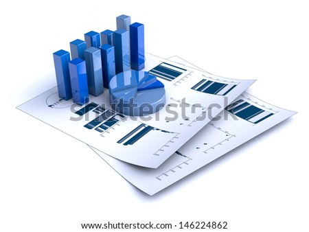 rendering of Financial charts on white background - stock photo