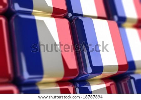 Rendering of french flags as cubes - stock photo
