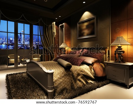 rendering of home interior focused on bed room - stock photo