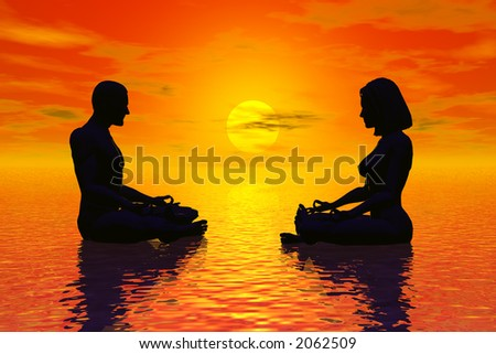rendering of man and woman in meditation pose during sunset