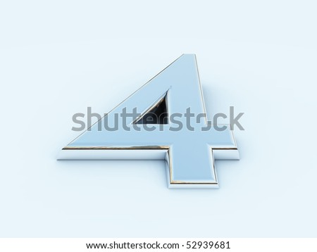 rendering of metallic number four on light background - stock photo