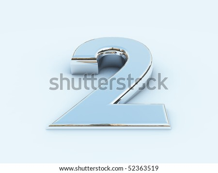 rendering of metallic number two on light background - stock photo