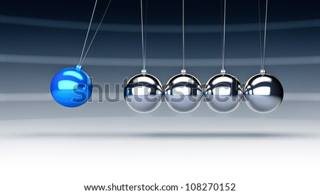 Rendering of newtons cradle with a blue ball - stock photo