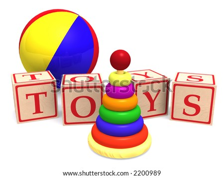 Rendering of simple children's toys. Wooden alphabet cubes spelling word toys, wooden pyramid puzzle and a colorful ball.